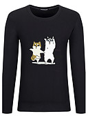 baratos Camisetas & Regatas Masculinas-Homens Tamanhos Grandes Camiseta Temática Asiática Animal Algodão Decote Redondo / Manga Longa