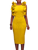 cheap Women's Dresses-Women's Club Street chic Butterfly Sleeves Bodycon Dress - Solid Colored / Simple Ruffle / Split High Rise