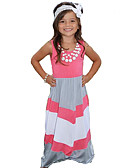 cheap Girls' Dresses-Girl's Birthday Daily Going out Holiday Striped Dress, Cotton Summer Sleeveless Stripes Blushing Pink