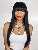 hesapli Düğün Hediyeleri-Sentetik Peruklar Düz Bob Saç Kesimi Sentetik Saç Siyah Peruk Kadın's Uzun Bonesiz Siyah