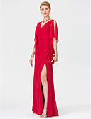 cheap Mother of the Bride Dresses-Sheath / Column V Neck Floor Length Chiffon Mother of the Bride Dress with Criss Cross Split Front by LAN TING BRIDE®