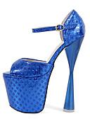 cheap Women's Pants-Women's Shoes PU(Polyurethane) Spring / Fall T-Strap / Basic Pump Heels Chunky Heel Peep Toe Buckle Gold / Fuchsia / Blue
