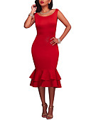 cheap Women's Dresses-Women's Club Going out Vintage Casual Bodycon Dress - Solid Colored, Ruffle