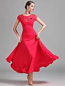お買い得  ソシアルダンスウェア-ボールルームダンス 女性用 性能 プロミックス レース 半袖 ナチュラルウエスト ドレス