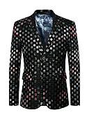 cheap Men's Blazers & Suits-Men's Sophisticated Street chic Plus Size Blazer - Color Block, Oversized Patchwork Notch Lapel