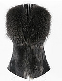 cheap Women's Fur Coats-Women's Street chic Faux Fur / PU Fur Coat - Solid Colored Square Neck / Fall / Winter