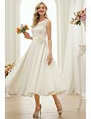 baratos Vestidos de Casamento-Linha A Bateau Neck Longuette Chiffon Vestidos de casamento feitos à medida com Faixa / Fita de LAN TING BRIDE®