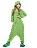 halpa Hääbolerot-Aikuisten Kigurumi-pyjama Yksi silmäinen hirviö Pyjamahaalarit Polar Fleece Vihreä Cosplay varten Miehet ja naiset Animal Sleepwear Sarjakuva Halloween Festivaali / loma