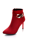 cheap Prom Dresses-Women's Shoes Synthetic Microfiber PU Spring / Fall Bootie Boots Stiletto Heel Booties / Ankle Boots Black / Red