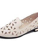 ieftine Eșarfe la Modă-Pentru femei Pantofi PU Primăvară / Vară Confortabili / Tălpi cu Lumini Mocasini & Balerini Toc Drept Vârf rotund Alb / Negru / Bej