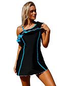 رخيصةأون لانجيري للنساء-أزرق أسود فوشيا مكعبات الألوان ملابس السباحة قعطة واحدة طباعة نساء