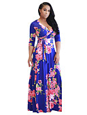 cheap Women's Dresses-Women's Party / Beach Boho Swing Dress - Floral Maxi V Neck