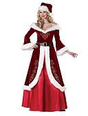 זול הינומות חתונה-חליפות סנטה גברת קלאוס שמלות תחפושות בגדי ריקוד נשים מבוגרים חג המולד פסטיבל / חג תחפושות ליל כל הקדושים תלבושות אדום וינטאג'
