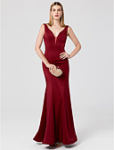 cheap Wedding Dresses-Mermaid / Trumpet V Neck Floor Length Jersey Cocktail Party / Prom / Formal Evening Dress with Crystals by TS Couture® / Open Back