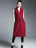 お買い得  コート、トレンチコート-女性用 ロング コート シャツカラー ソリッド プリント