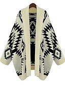 baratos Suéteres de Mulher-Mulheres Manga Longa Algodão Longo Carregam Estampado Algodão / Colarinho de Camisa / Outono / Inverno