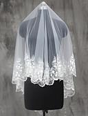 cheap Wedding Gifts-One-tier Lace Applique Edge Wedding Veil Shoulder Veils Elbow Veils Fingertip Veils 53 Sequin Appliques Lace Tulle
