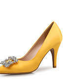 cheap Evening Dresses-Women's Shoes Sparkling Glitter / Silk Spring / Fall Comfort Heels Stiletto Heel Pointed Toe Rhinestone Yellow / Almond / Party & Evening