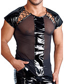 baratos Moda Íntima Exótica para Homens-Homens Camiseta Sólido Decote Redondo