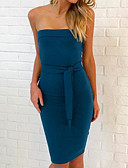 cheap Women's Dresses-Women's Club A Line / Bodycon Dress - Solid Colored Mini Strapless
