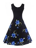 זול שמלות נשים-גיזרה גבוהה עד הברך פרחוני - שמלה נדן סווינג כותנה וינטאג' עבודה חגים בגדי ריקוד נשים