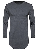 cheap Men's Shirts-Men's Cotton T-shirt - Solid Colored Round Neck