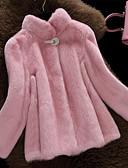 cheap Women's Fur Coats-Women's Simple Casual Faux Fur Fur Coat - Solid Colored, Fur Trim Stand