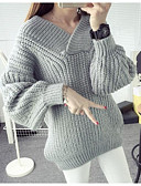 cheap Women's Sweaters-Women's Long Sleeve Pullover - Solid Colored V Neck / Spring / Fall