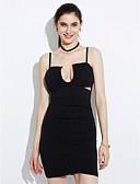 abordables Vestidos de Mujer-Mujer Discoteca Corte Bodycon Vestido - Espalda al Aire Frunce, Un Color Mini Con Tirantes