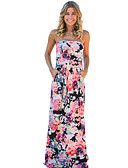 cheap Women's Pants & Leggings-Women's Party / Holiday / Going out Boho Sheath Dress - Floral Maxi Strapless / Club / Beach