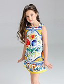 cheap Girls' Dresses-Girl's Floral Dress, Polyester Summer Sleeveless Floral Yellow