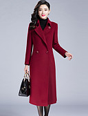 cheap Women's Coats & Trench Coats-Women's Street chic Coat-Solid Colored Shirt Collar