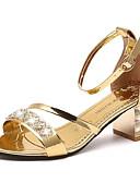 preiswerte Abendkleider-Damen Schuhe PU Sommer Komfort Sandalen Walking Blockabsatz Runde Zehe Strass Gold / Schwarz
