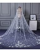 cheap Wedding Veils-One-tier Lace Applique Edge Wedding Veil Cathedral Veils 53 Scattered Bead Floral Motif Style Appliques Lace Tulle