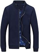 cheap Men's Jackets & Coats-Men's Plus Size Cotton Jacket - Solid Colored Stand