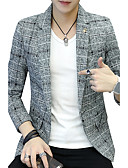 cheap Men's Jackets & Coats-Men's Daily / Work Active / Street chic Fall / Winter Plus Size Regular Blazer, Solid Colored V Neck Long Sleeve Cotton / Polyester / Spandex Print Green / Navy Blue / Gray XL / XXL / XXXL