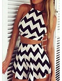 cheap Women's Two Piece Sets-Women's Going out Casual Slim crop T-shirt - Striped Skirt Strap / Summer / Sexy