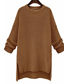 abordables Camisas y Camisetas para Mujer-Mujer Manga Larga Algodón Largo Pullover - Un Color / Otoño / Invierno