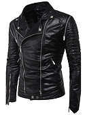 cheap Men's Jackets & Coats-Men's Punk & Gothic Slim Leather Jacket - Solid Colored