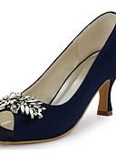 cheap Men's Shirts-Women's Shoes Stretch Satin Spring / Summer Basic Pump Wedding Shoes Stiletto Heel Peep Toe Crystal Navy Blue / Blue / Ivory