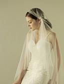 baratos Véus de Noiva-Uma Camada Corte da borda Véus de Noiva Véu Ponta dos Dedos com Fru-Fru Tule / Mantilha