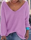 preiswerte Damen Pullover-Damen Ausgehen Langarm Pullover - Solide V-Ausschnitt / Herbst