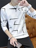 cheap Men's Shirts-Men's T-shirt - Geometric Round Neck / Long Sleeve