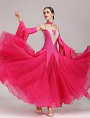 お買い得  ソシアルダンスウェア-ボールルームダンス ドレス 女性用 性能 ポリエステル スパンデックス クリスタル / ラインストーン ノースリーブ ドレス スリーブ Neckwear