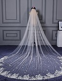 cheap Wedding Veils-One-tier Cut Edge Lace Applique Edge Wedding Veil Cathedral Veils 53 Scattered Bead Floral Motif Style Appliques Lace Tulle