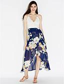 cheap Women's Dresses-Women's Beach Sophisticated Chiffon Swing Dress - Floral Patchwork, Lace Split High Rise Maxi Asymmetrical V Neck