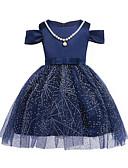 levne Dívčí šaty-Dívka je Bavlna Polyester Jednobarevné Léto Šaty, Krátký rukáv Krajkový Vodní modrá