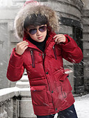 cheap Boys' Jackets & Coats-Kids Boys' Street chic Going out Patchwork Patchwork Long Sleeve Long Down & Cotton Padded