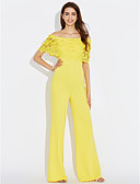 cheap Women's Jumpsuits & Rompers-Women's Jumpsuit - Solid Color High Rise Wide Leg Boat Neck