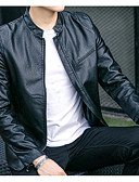 cheap Men's Jackets & Coats-Men's Leather Jacket - Solid Colored Stand